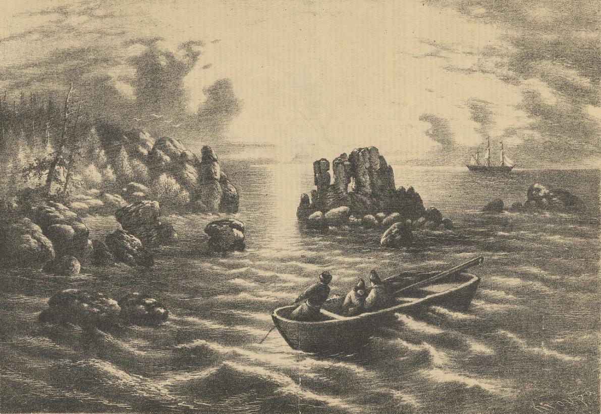 Gravure représentant des marins qui rament dans une barque à proximité d'une île aux abords très rocheux.