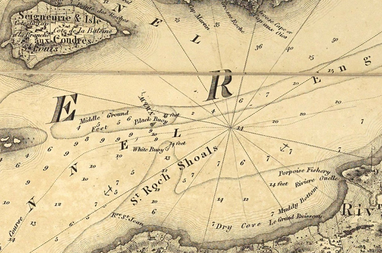 Extract of a former map where the author specifies the location of buoys and the depth of waters.