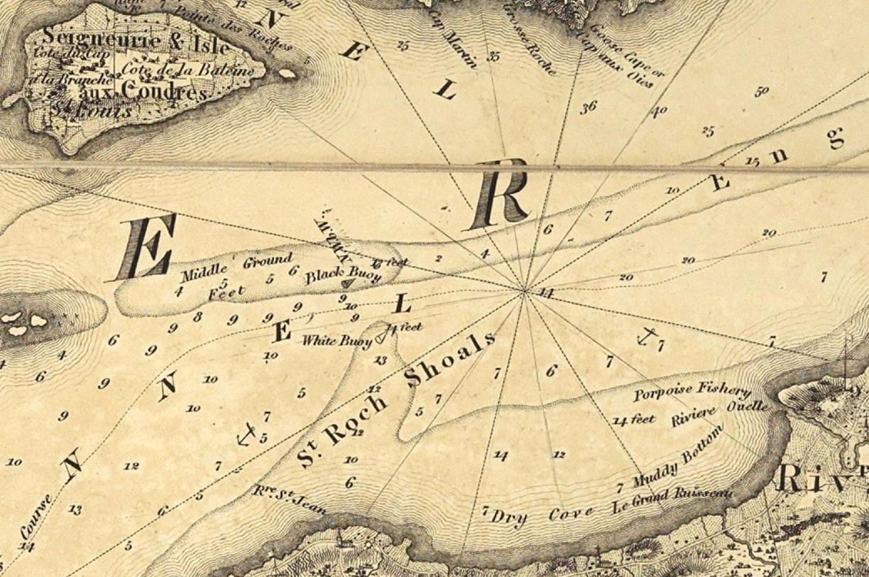 Extrait d'une carte ancienne où l'auteur précise l'emplacement de bouées et la profondeur des eaux.