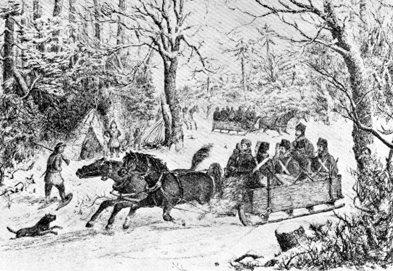 Gravure représentant un convoi de militaires dans une carriole tirée par deux chevaux.