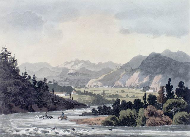 Aquarelle représentant des cavaliers qui traversent une rivière qui coule entre des montagnes.