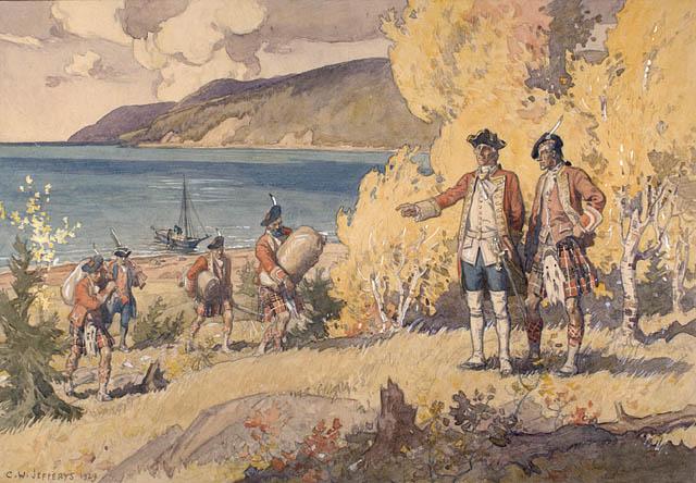 Des soldats britanniques portant le kilt transportent des marchandises.