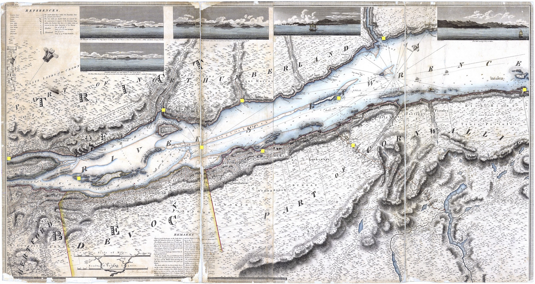 Une vieille carte du golfe du Saint-Laurent.