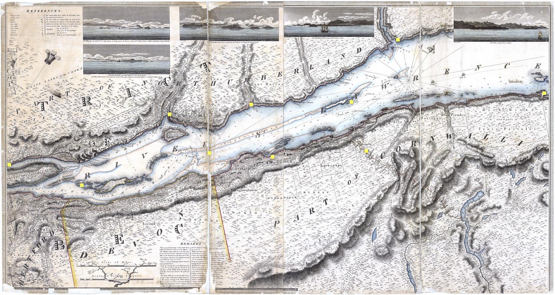Une vieille carte du golfe du Saint-Laurent.