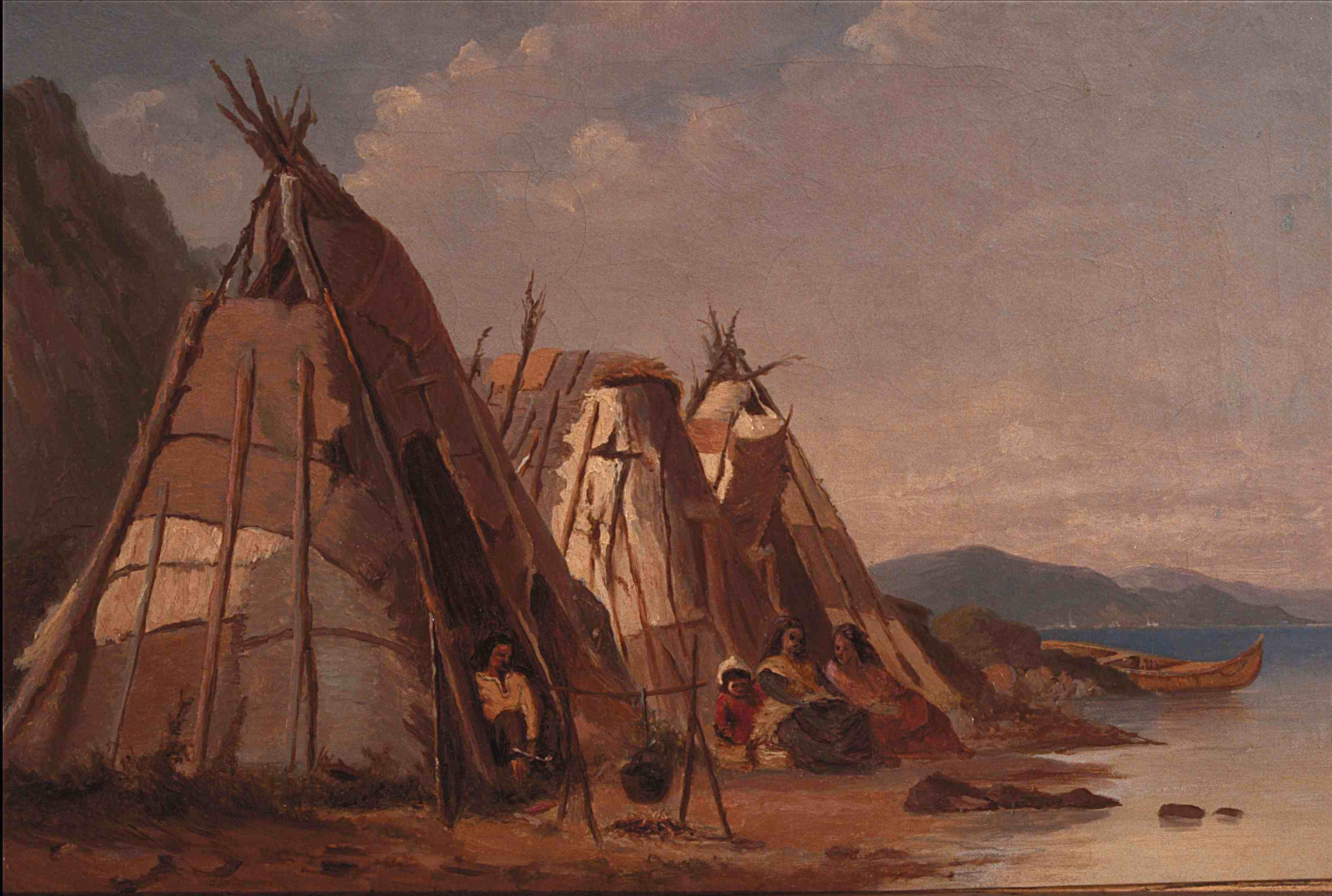 Painting of Aboriginal families in front of wigwams on a beach.