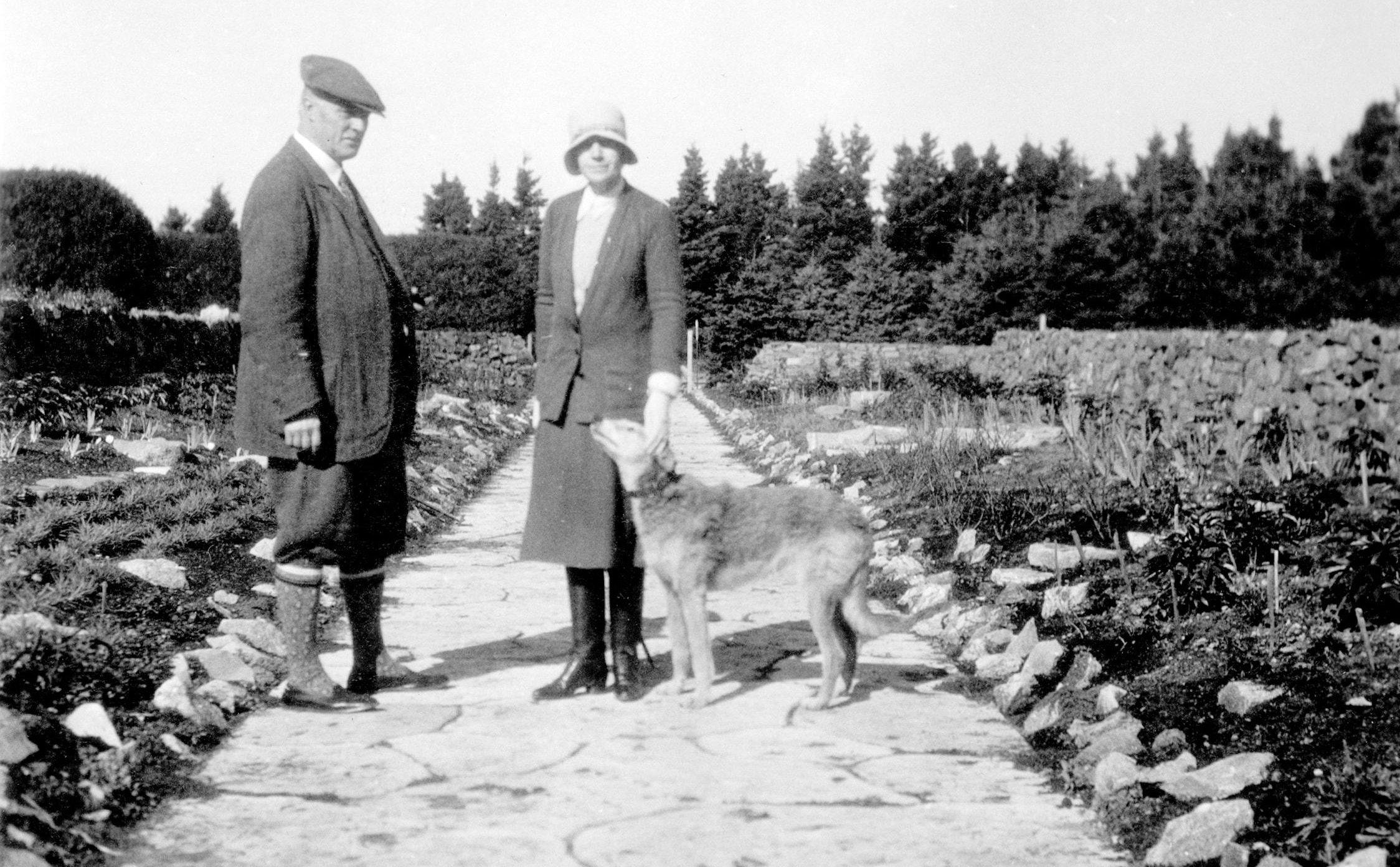 Un homme et une femme accompagnés d'un chien prennent la pose dans une allée large d'un grand jardin.