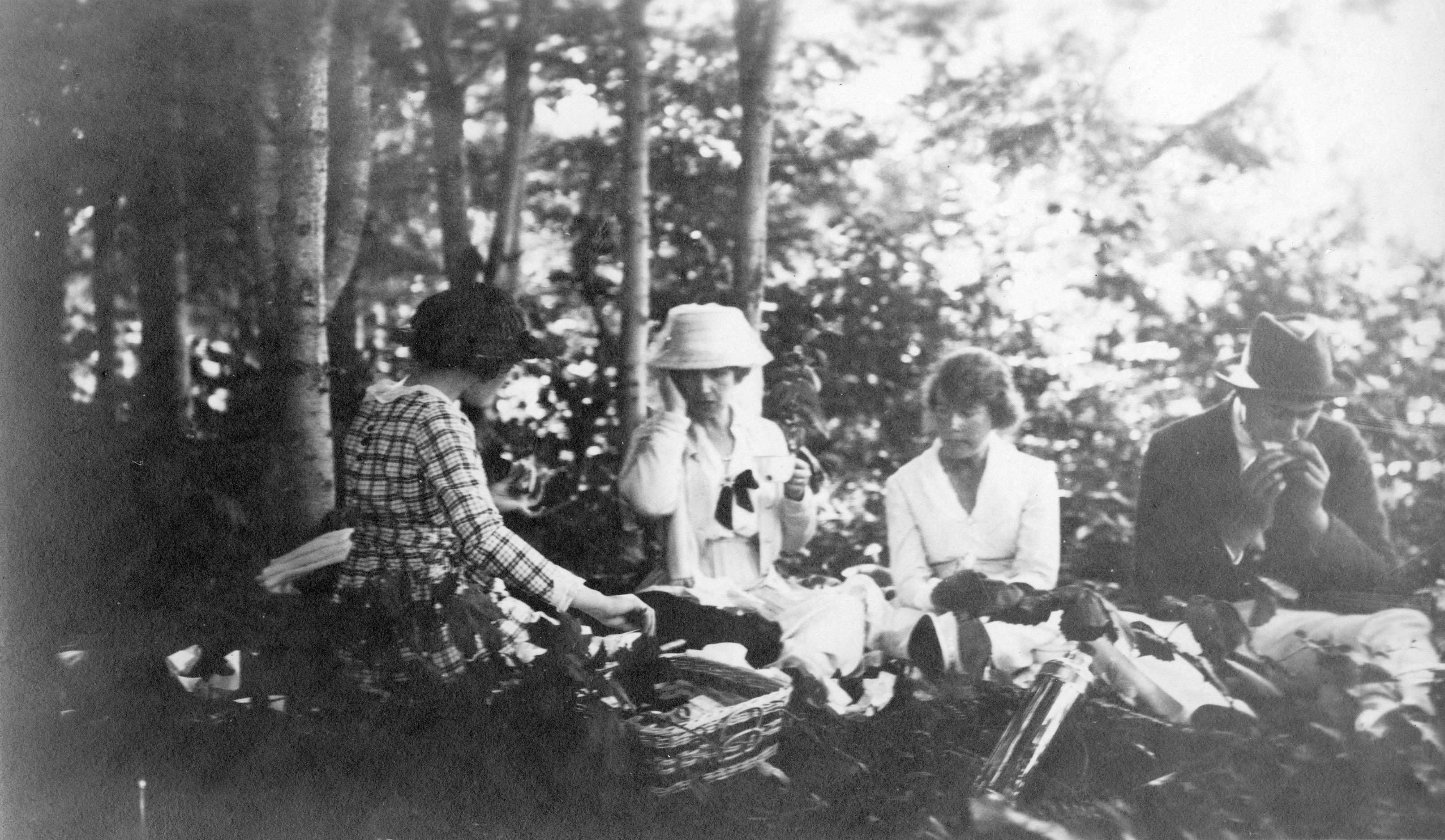 Trois femmes et un homme sont assis pour pique-niquer dans un boisé. À l'avant-plan, un panier et un thermos.