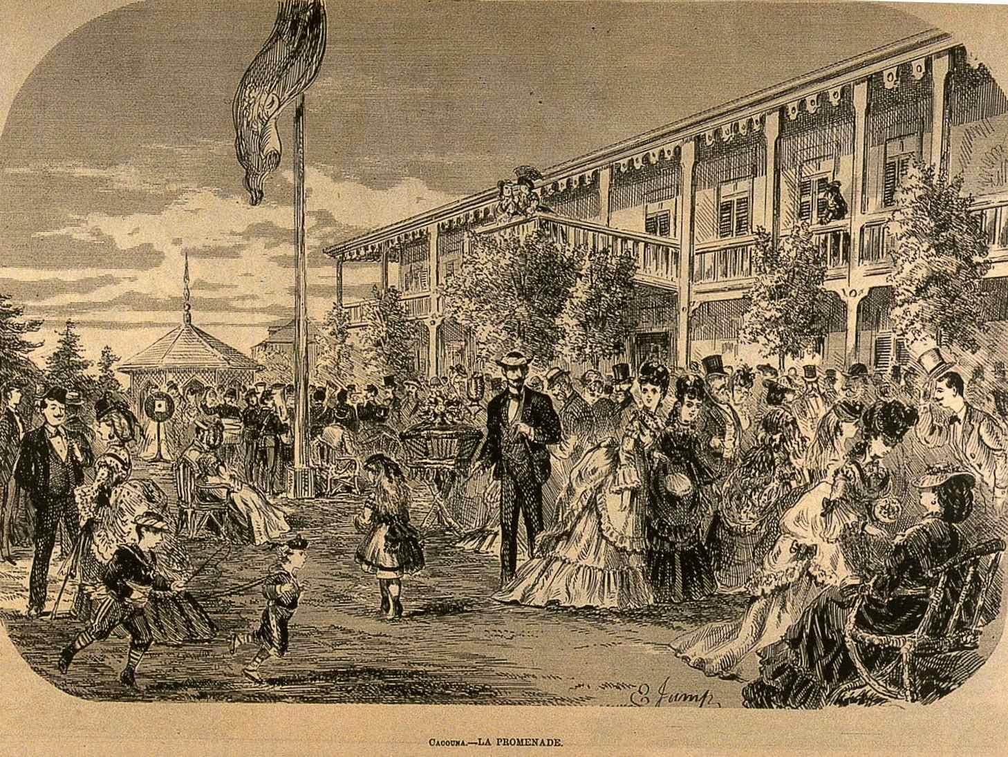 De nombreux clients heureux déambulent devant un hôtel.