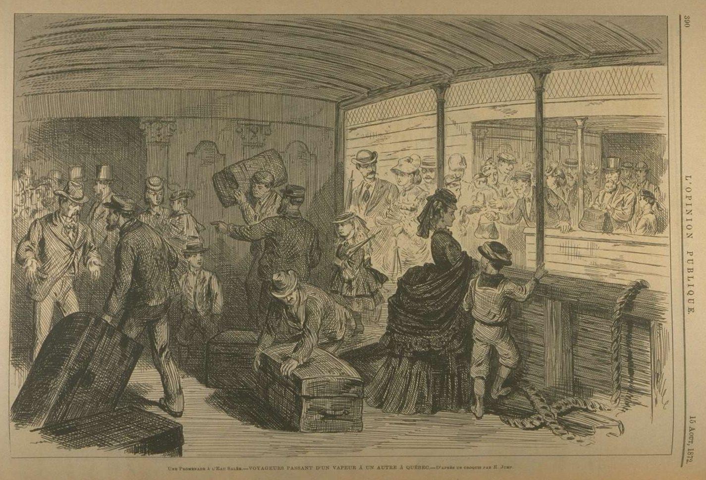 Gravure représentant le pont d'un navire où des employés s'affairent à déplacer des malles, tandis que des passagers arrivent.