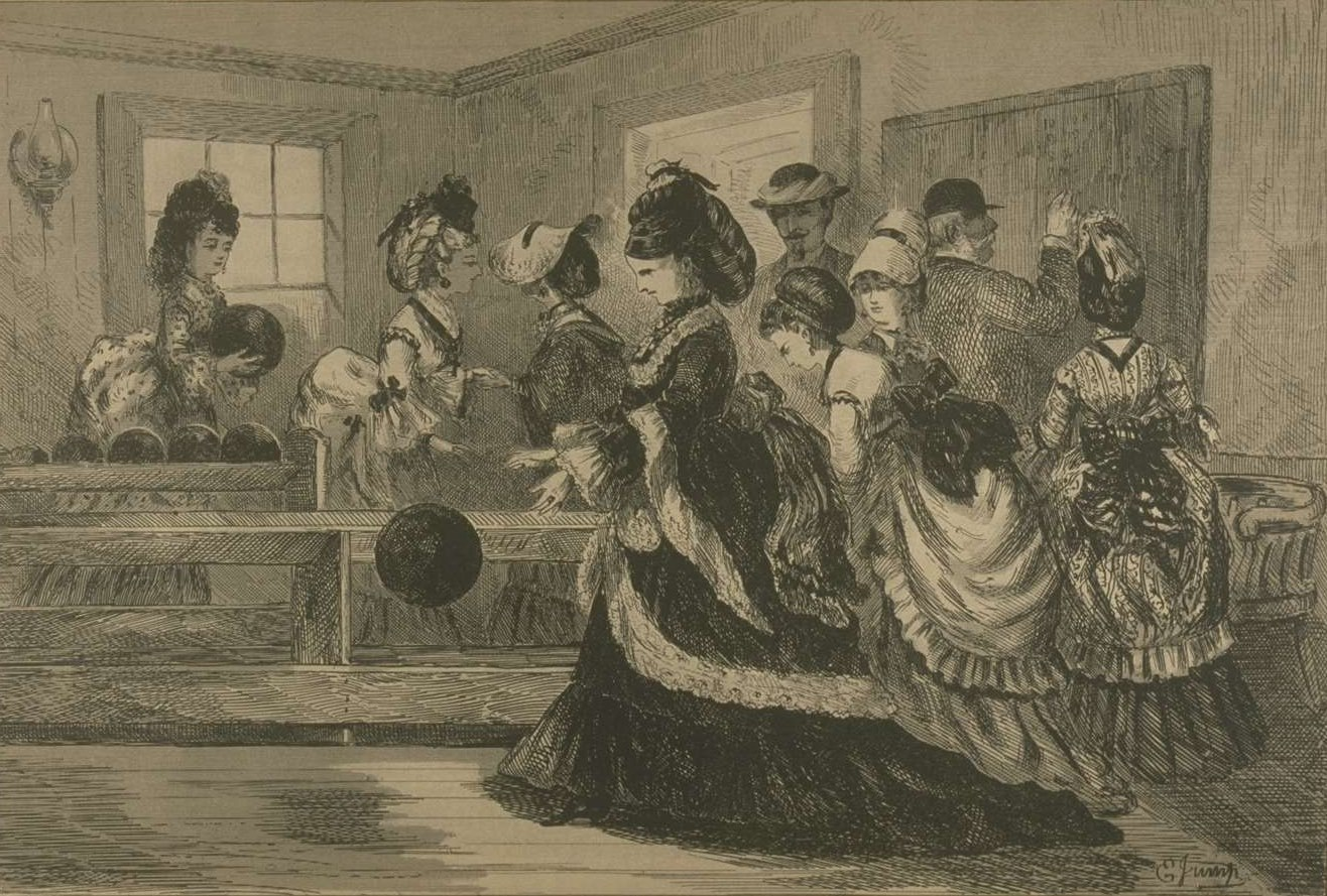 Gravure représentant un groupe principalement composé de femmes qui jouent aux quilles.