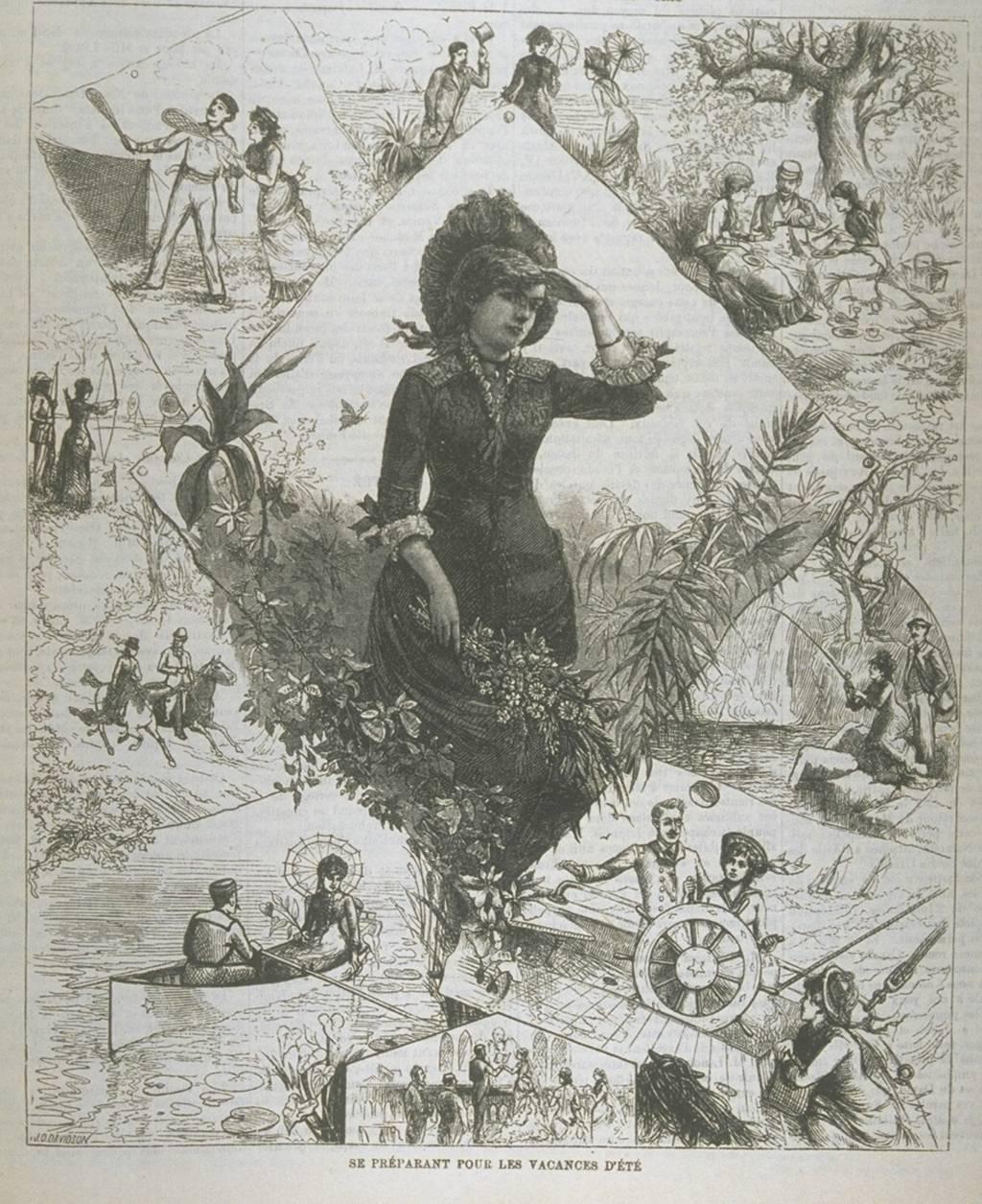 Affiche décrivant des activités estivales d'une jeune femme comme le tennis, les pique-niques ou la navigation de plaisance.