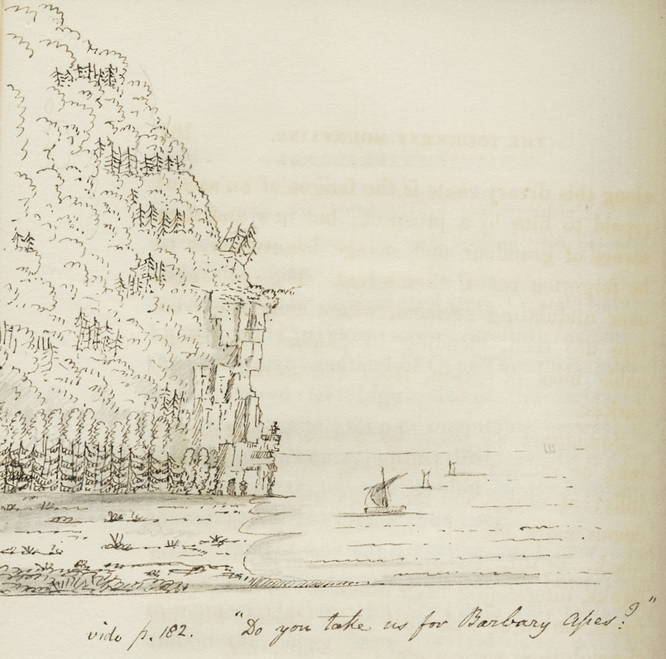 An ink drawing of a mountain dropping steeply into the river with boats below. A handwritten comment in English.
