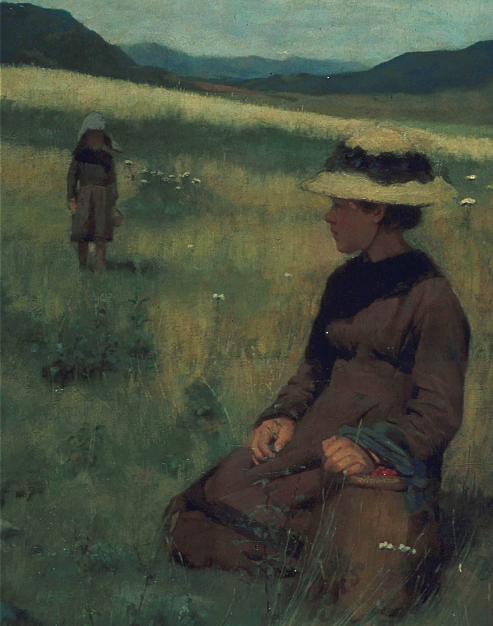 Peinture d'une jeune femme agenouillée dans un champ, cueillant des fraises des champs dans un paysage montagneux.