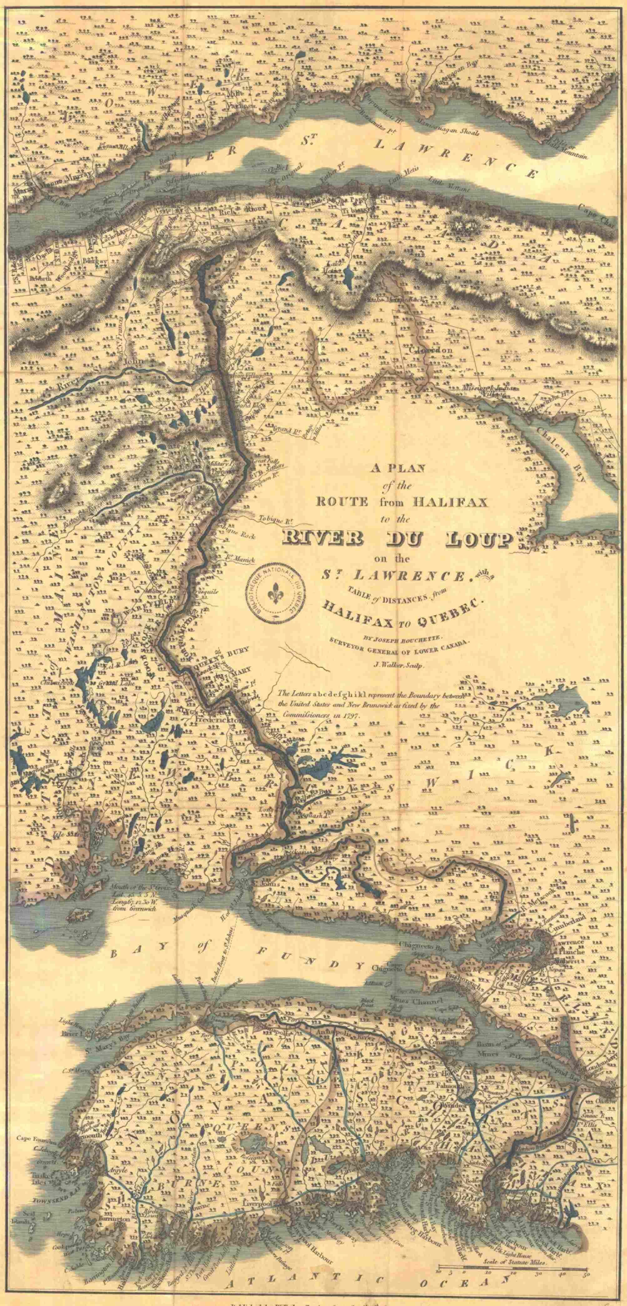 Carte ancienne du territoire compris entre l'embouchure du Saint-Laurent, au nord, et l'océan Atlantique, au sud (en anglais).