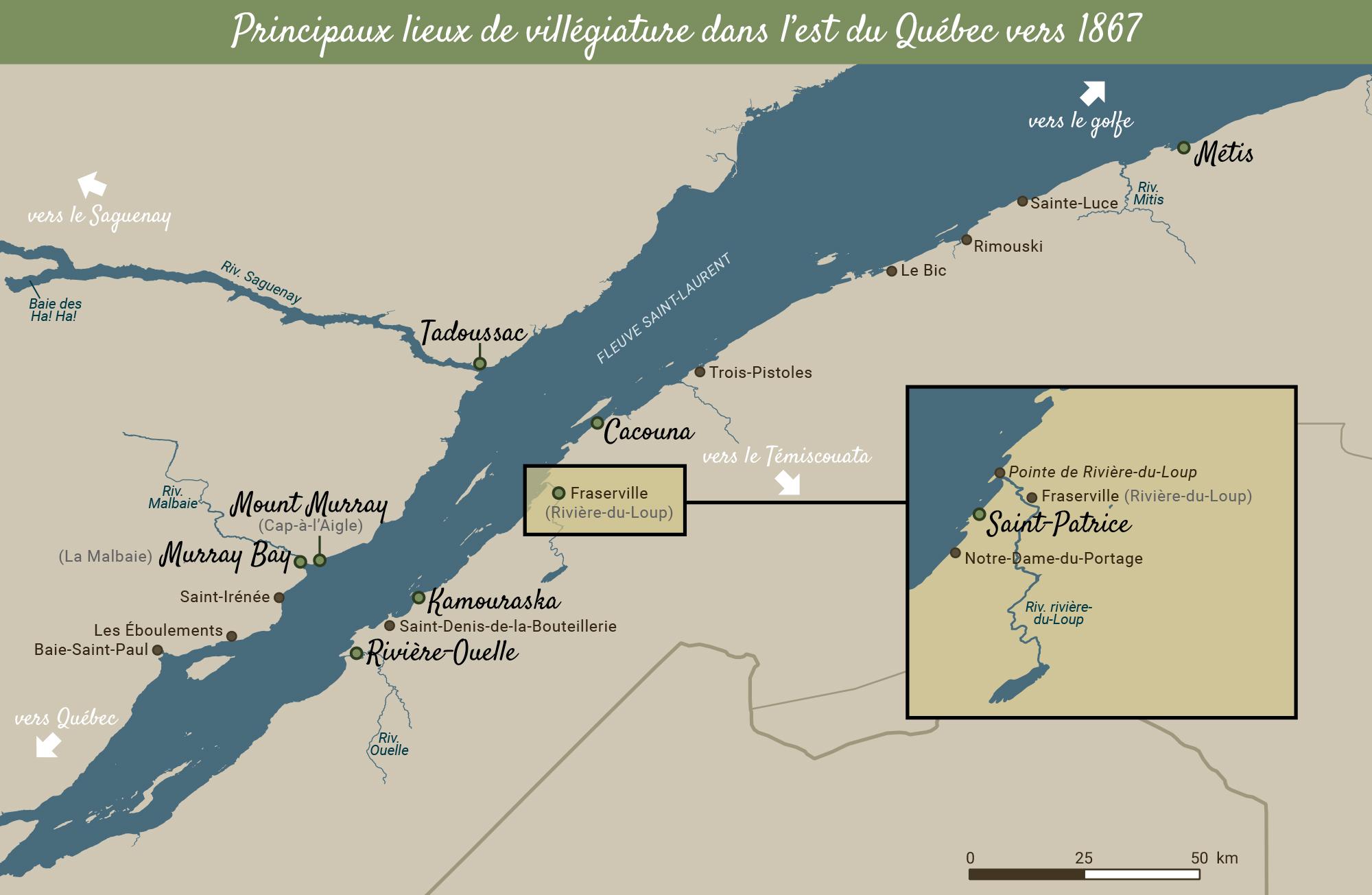 Carte de l'estuaire en couleurs. Zoom sur les stations balnéaires de la région de Rivière-du-Loup.