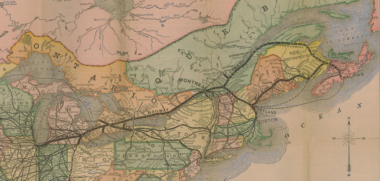 Carte ancienne en couleurs illustrant l'étendue du réseau ferroviaire du Grand Tronc entre Chicago et Halifax.