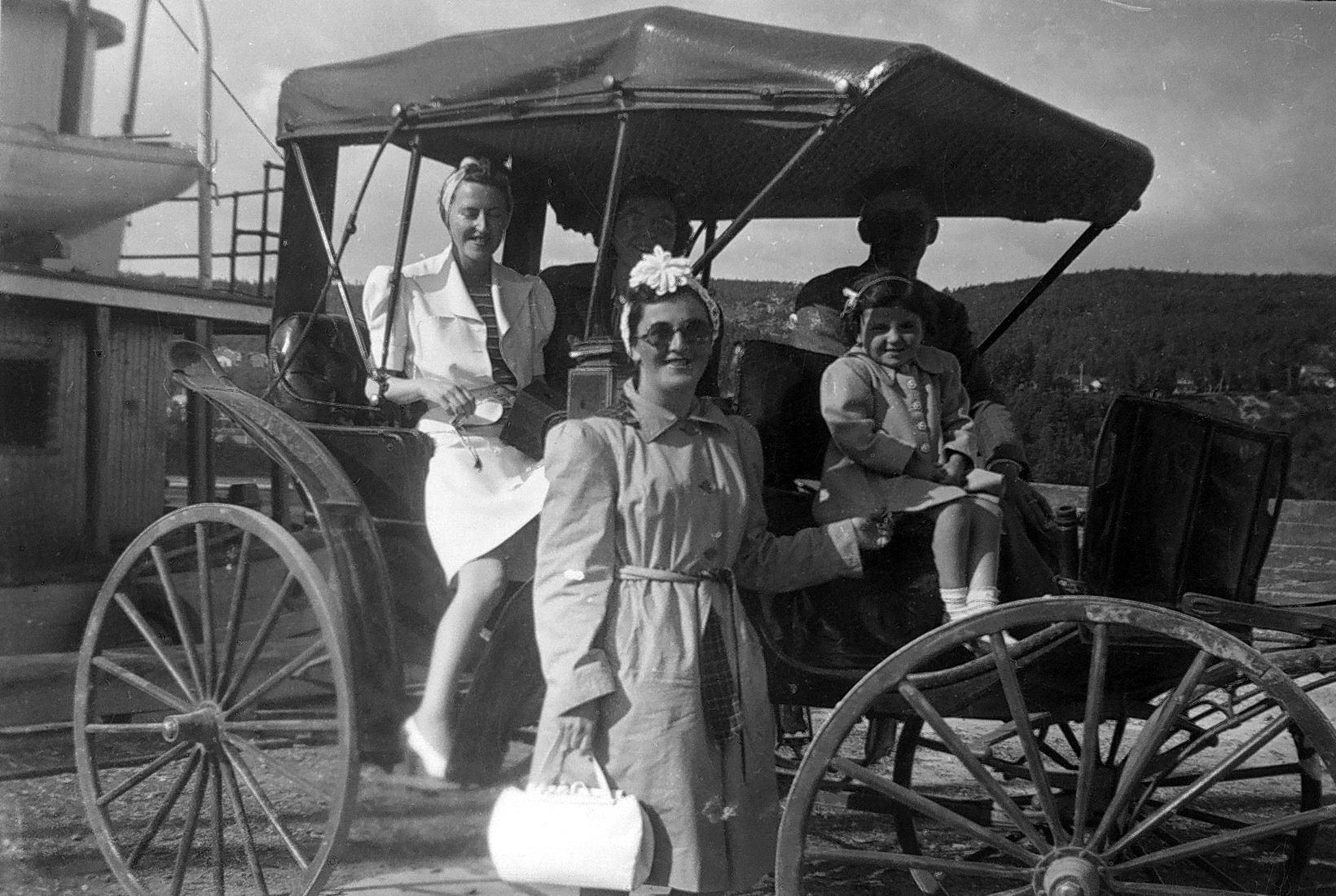 Des voyageurs s'apprêtent à voyager dans une voiture de promenade hippomobile, au bord d'un quai.