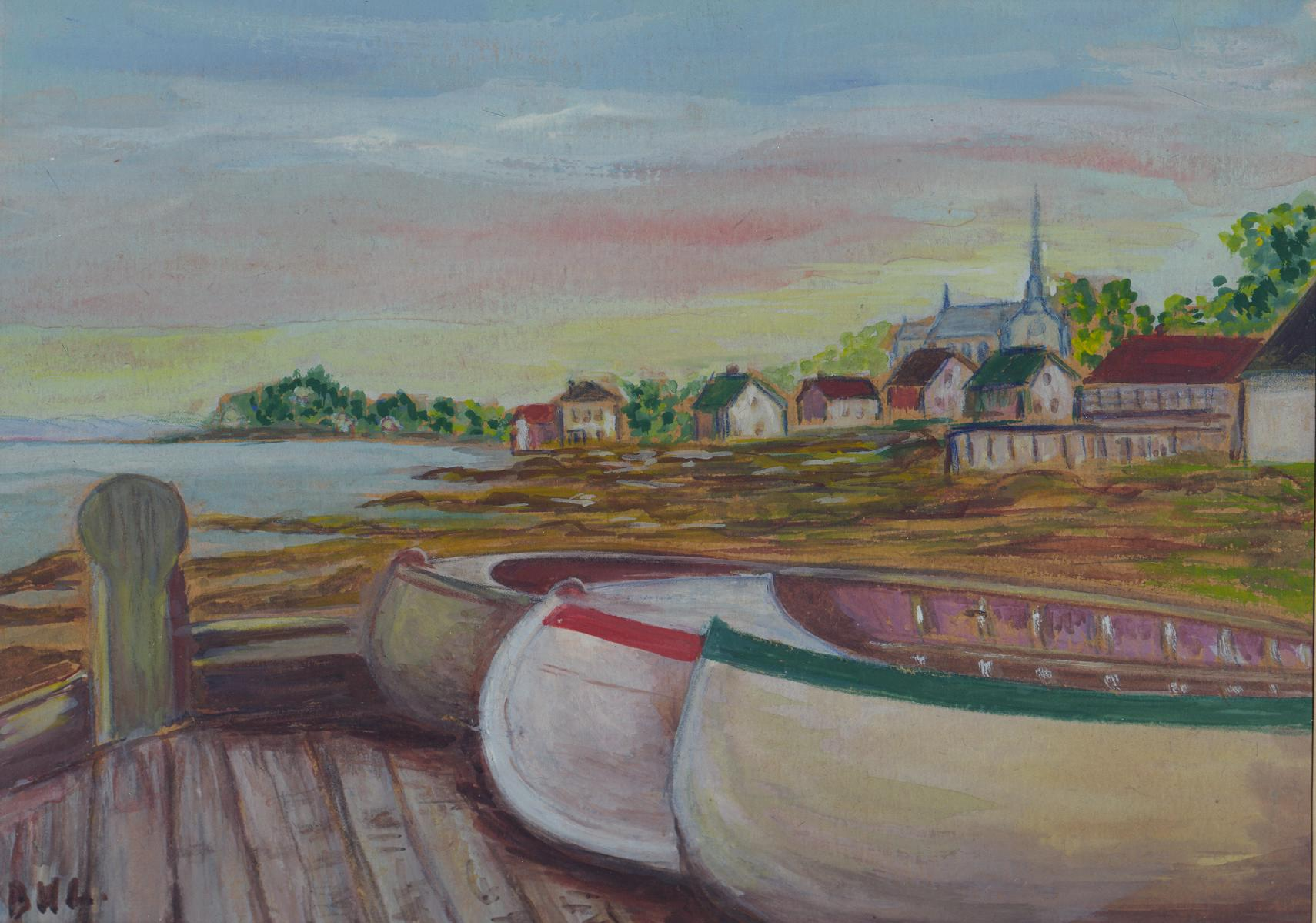 A watercolour depicting three canoes on a wharf and a coastal village in the background.