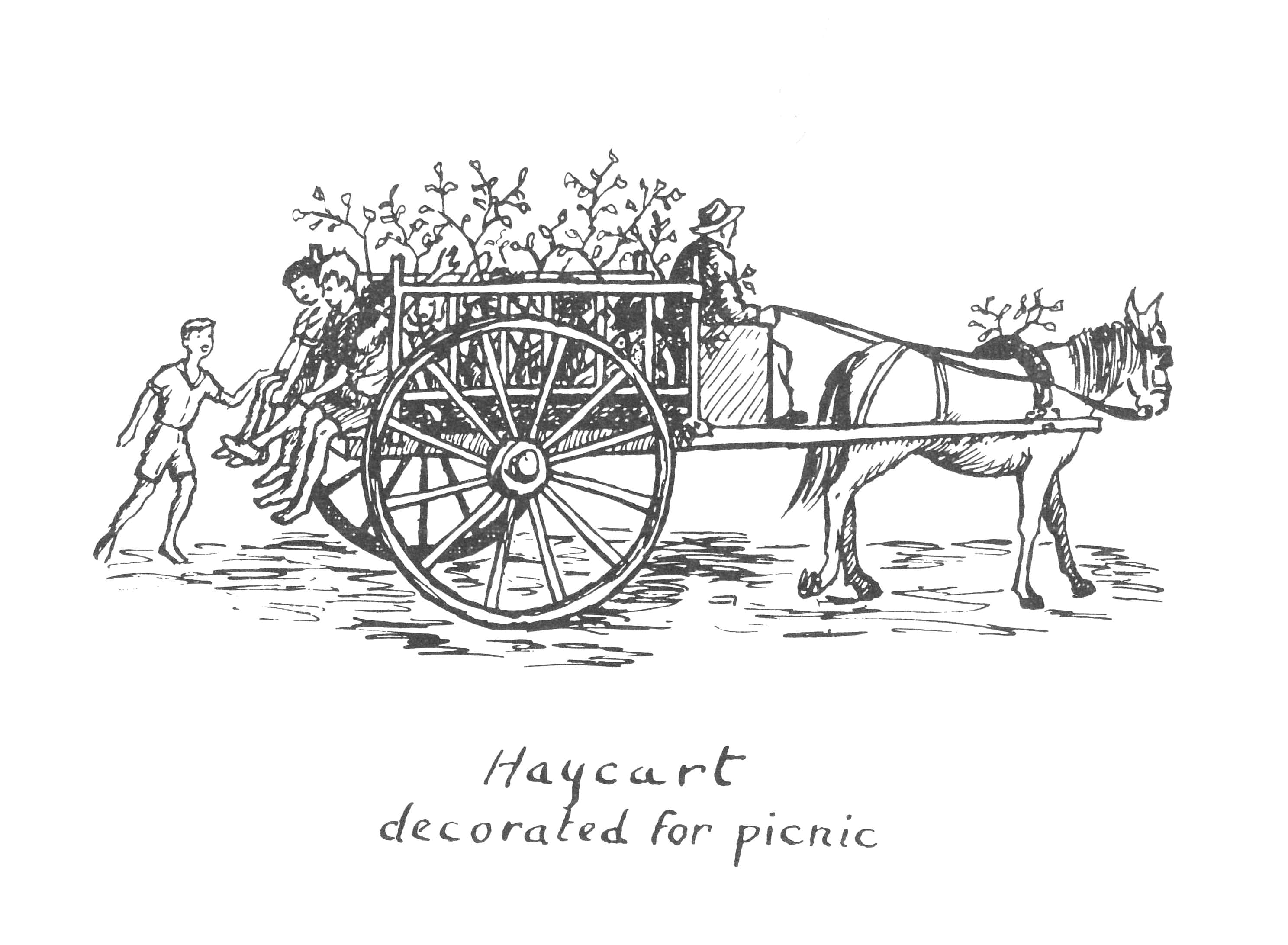 Ink drawing of children riding in a two-wheeled horse cart decorated with branches.