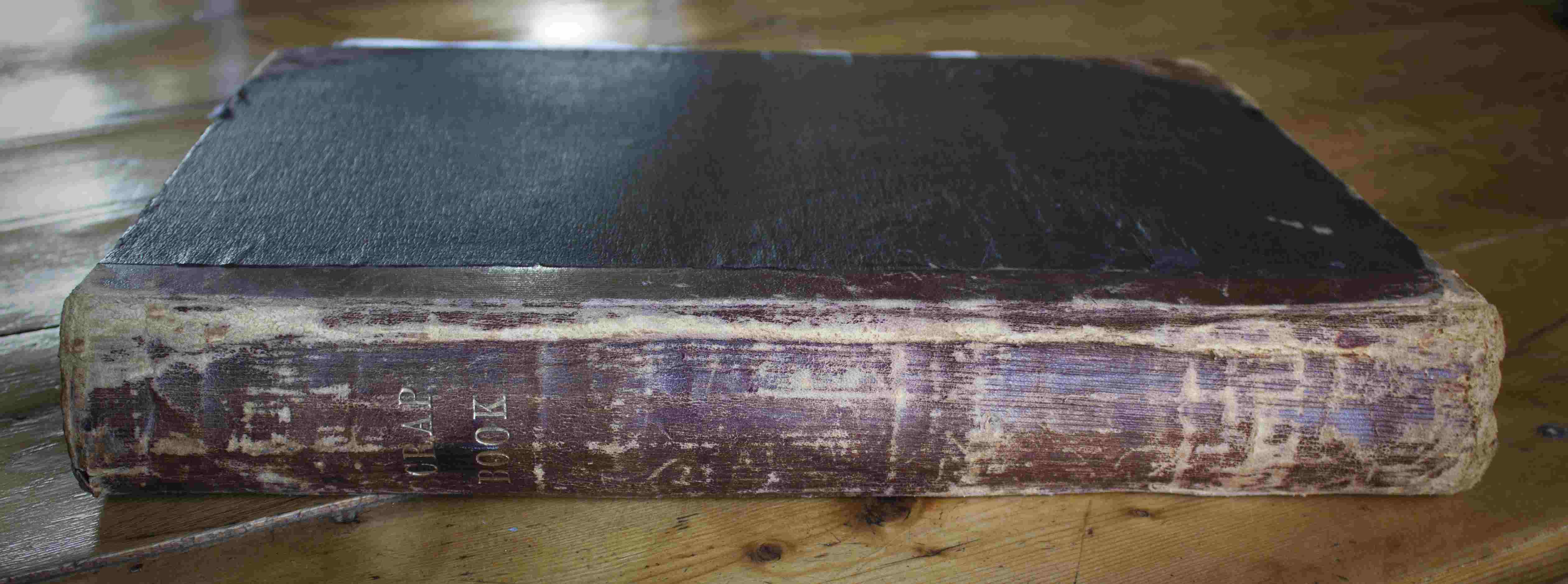 Photographie de la tranche d'un livre ancien.