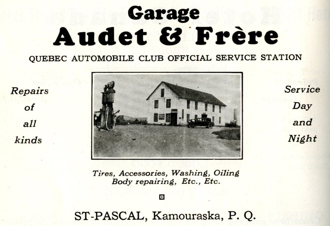 A 1930s ad for a service station, with a photo of the garage, gas pump and a car.