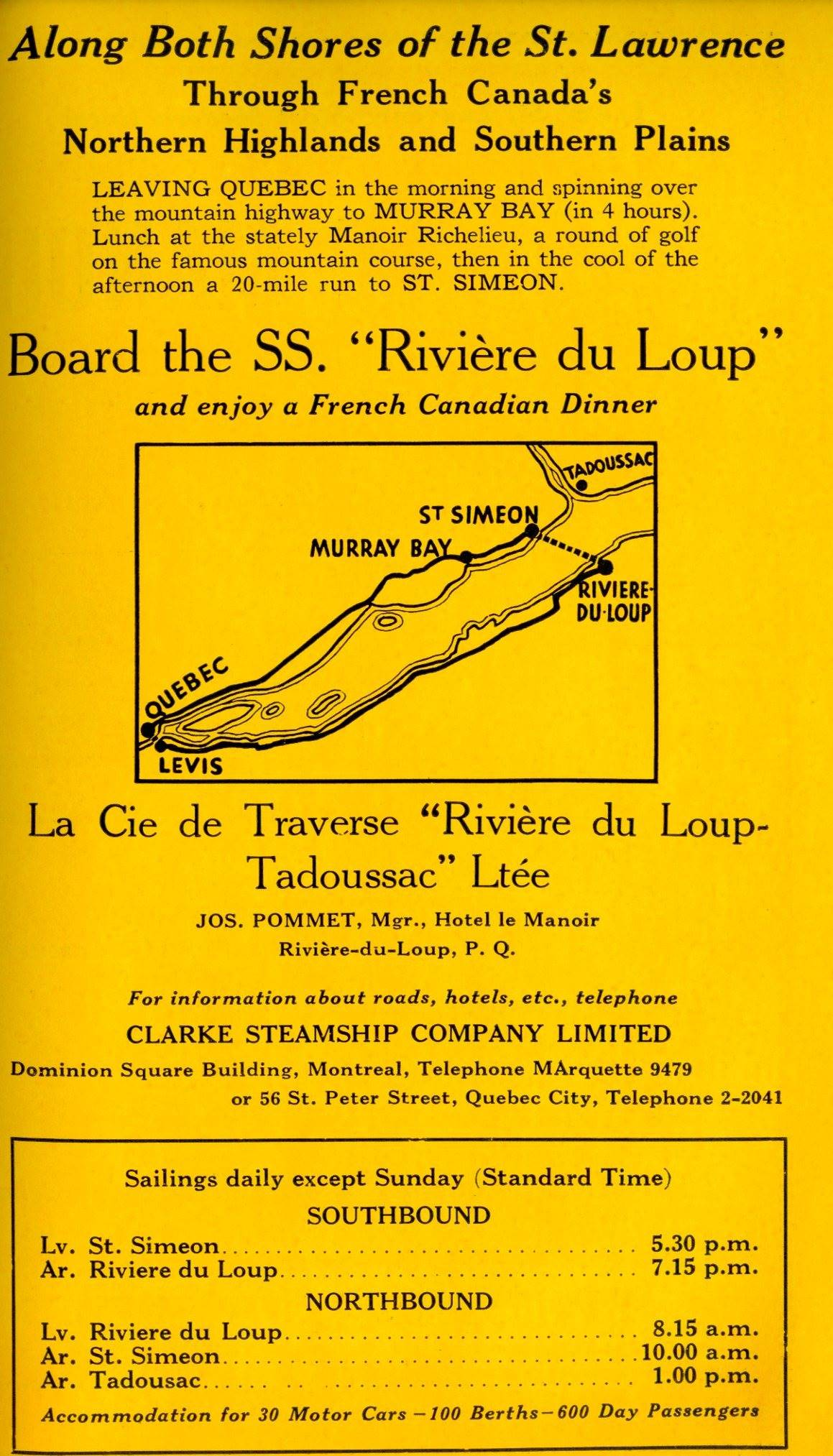 English-language ad for a ferry service. A map suggests a route around eastern Quebec.