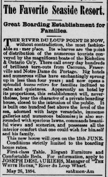 Reproduction d'une petite annonce rédigée en anglais, tirée d'un journal ancien.