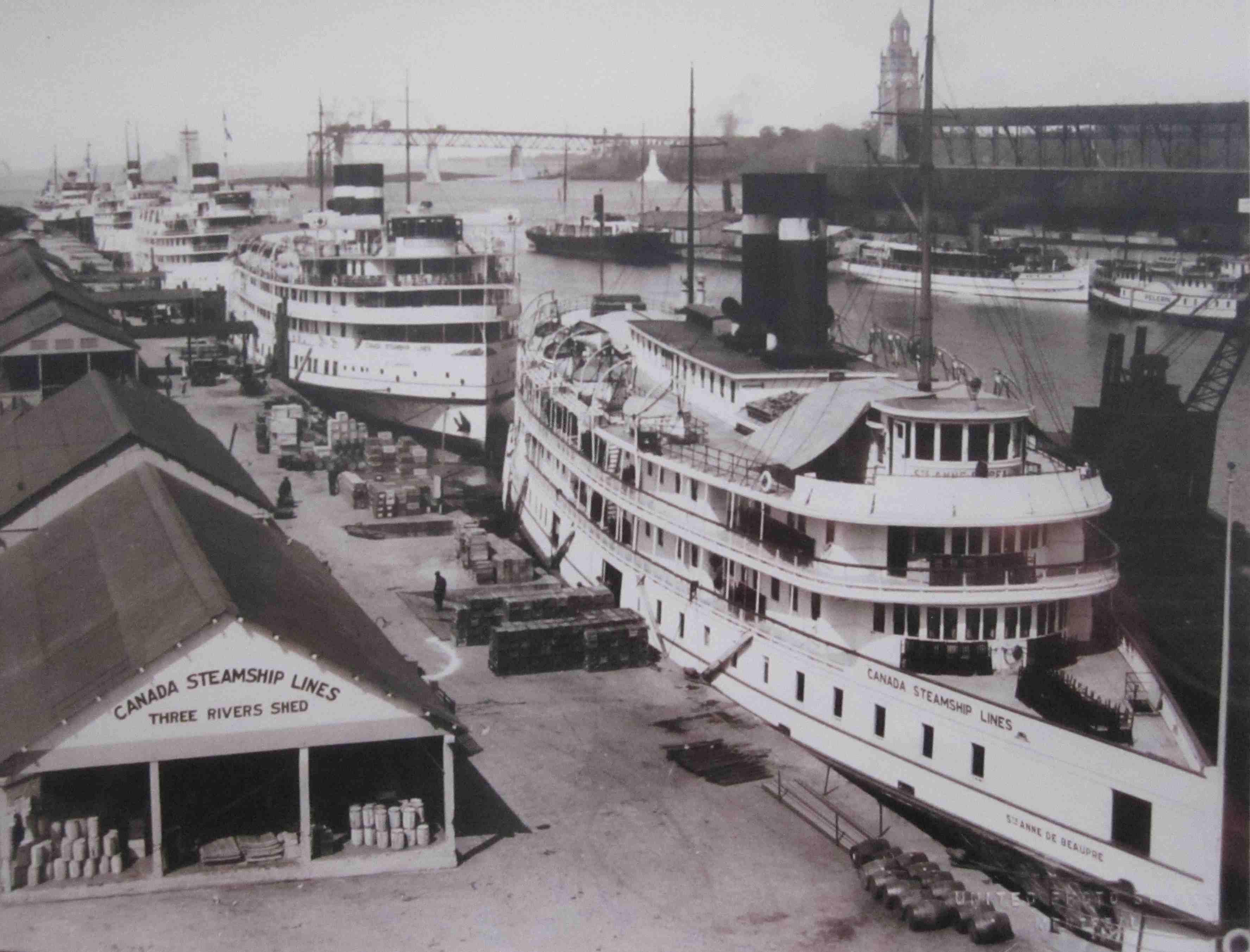 Photographie de grands navires de croisière à vapeur dans un port. En arrière-plan, on aperçoit un pont en construction.