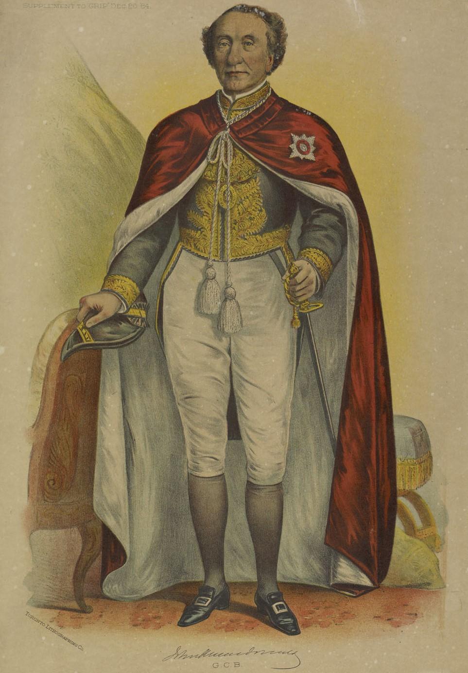 Lithographie représentant un homme d'âge mur qui porte une cape rouge de style royal, la main à son épée.