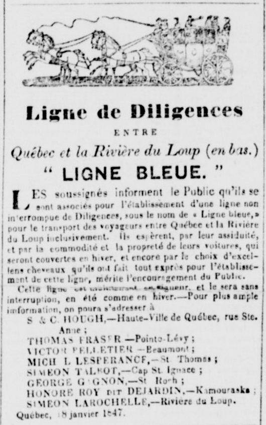 Publicité tirée d'un journal ancien dont le titre est précédé d'une image représentant une diligence tirée par quatre chevaux.