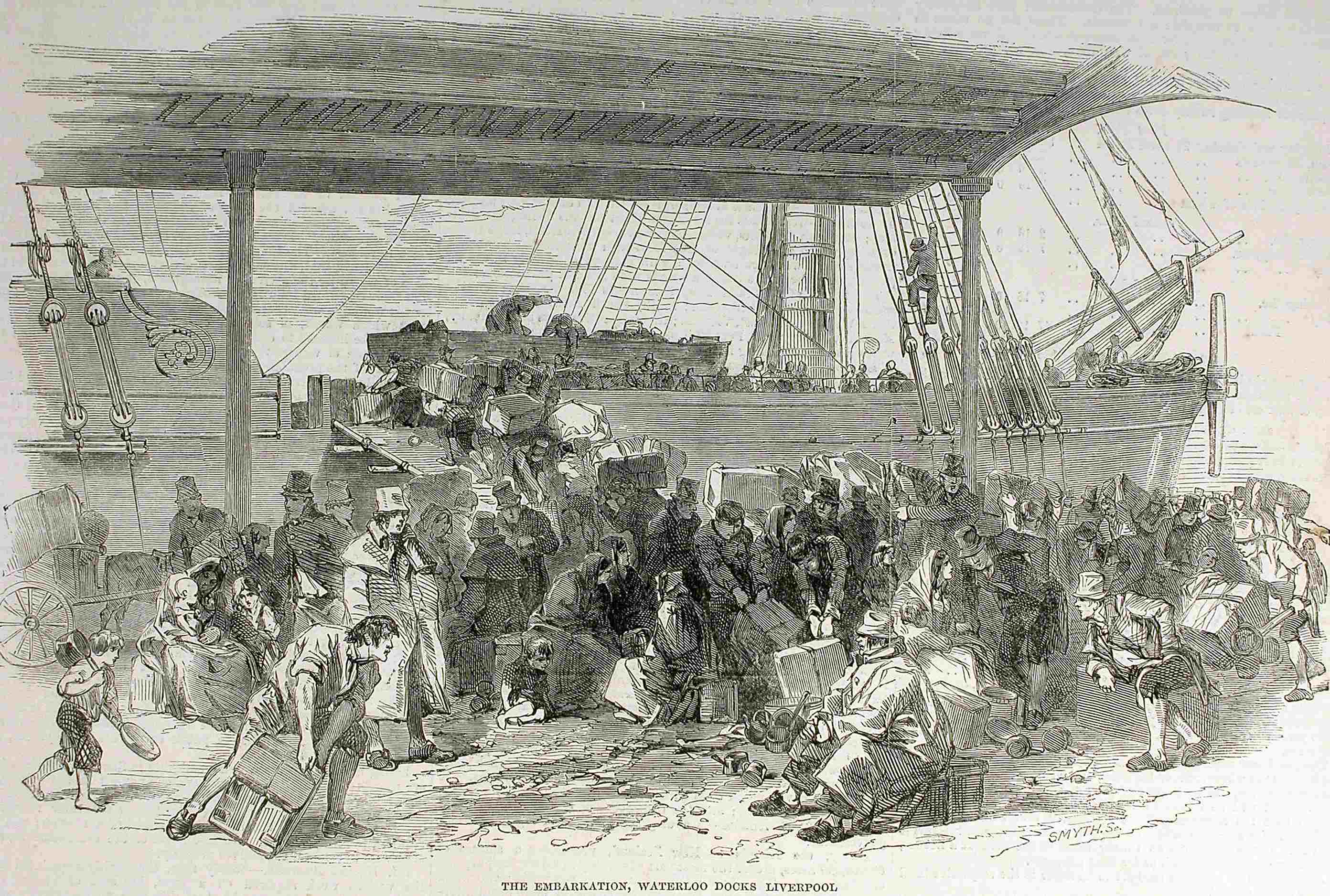 Engraving of a dock where a crowd is boarding a sailing vessel with an impressive amount of baggage.
