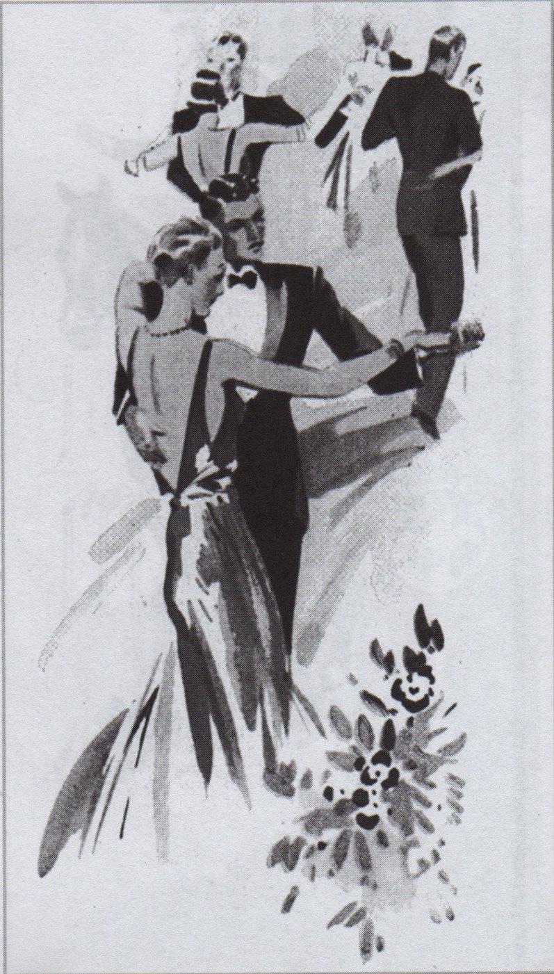 Dessin à l'encre de Chine représentant quatre couples élégants qui valsent. Les hommes portent le smoking.