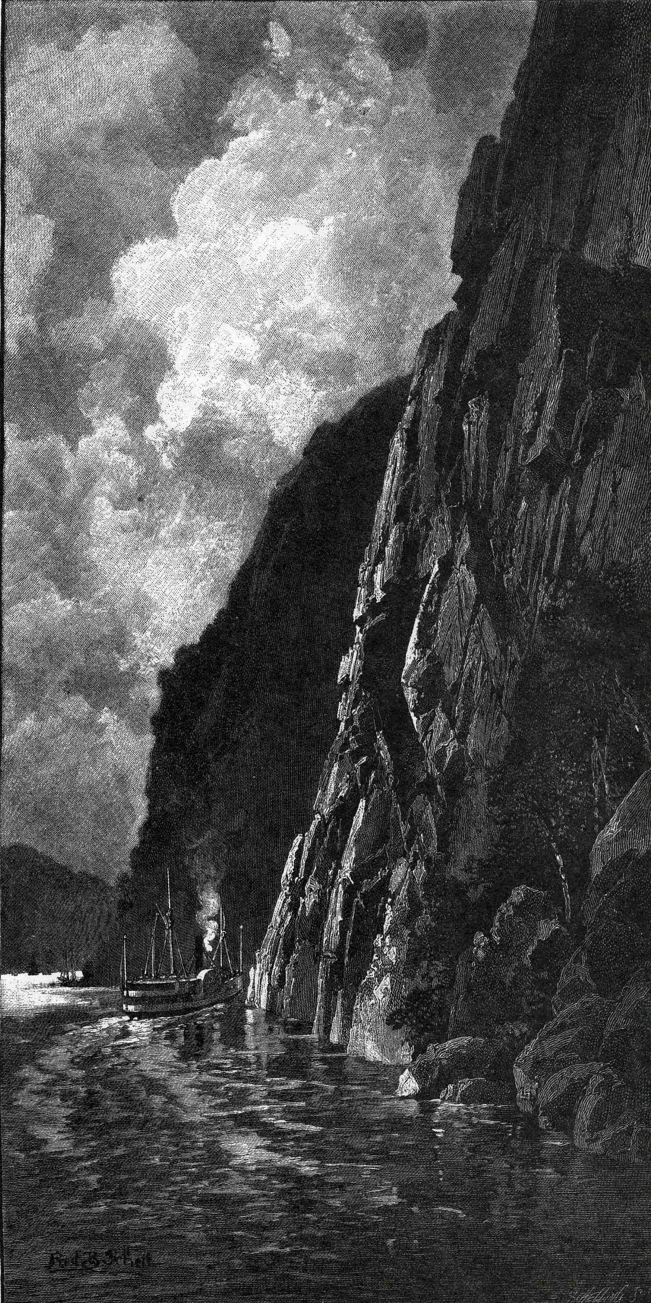 Engraving of a cruise steamer at the foot of a huge cliff.