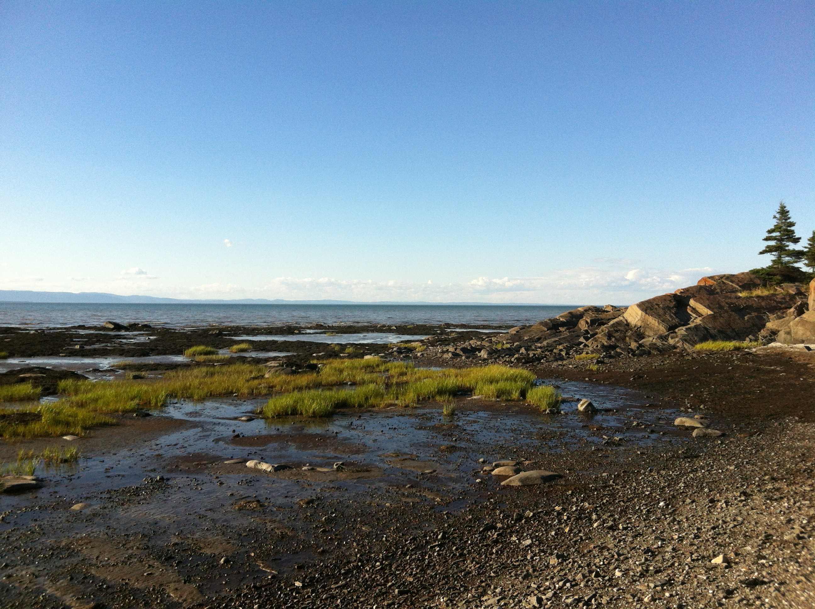 Paysage naturel : une plage marécageuse bordée de rochers, le fleuve et, sur l'autre rive, les montagnes de Charlevoix.