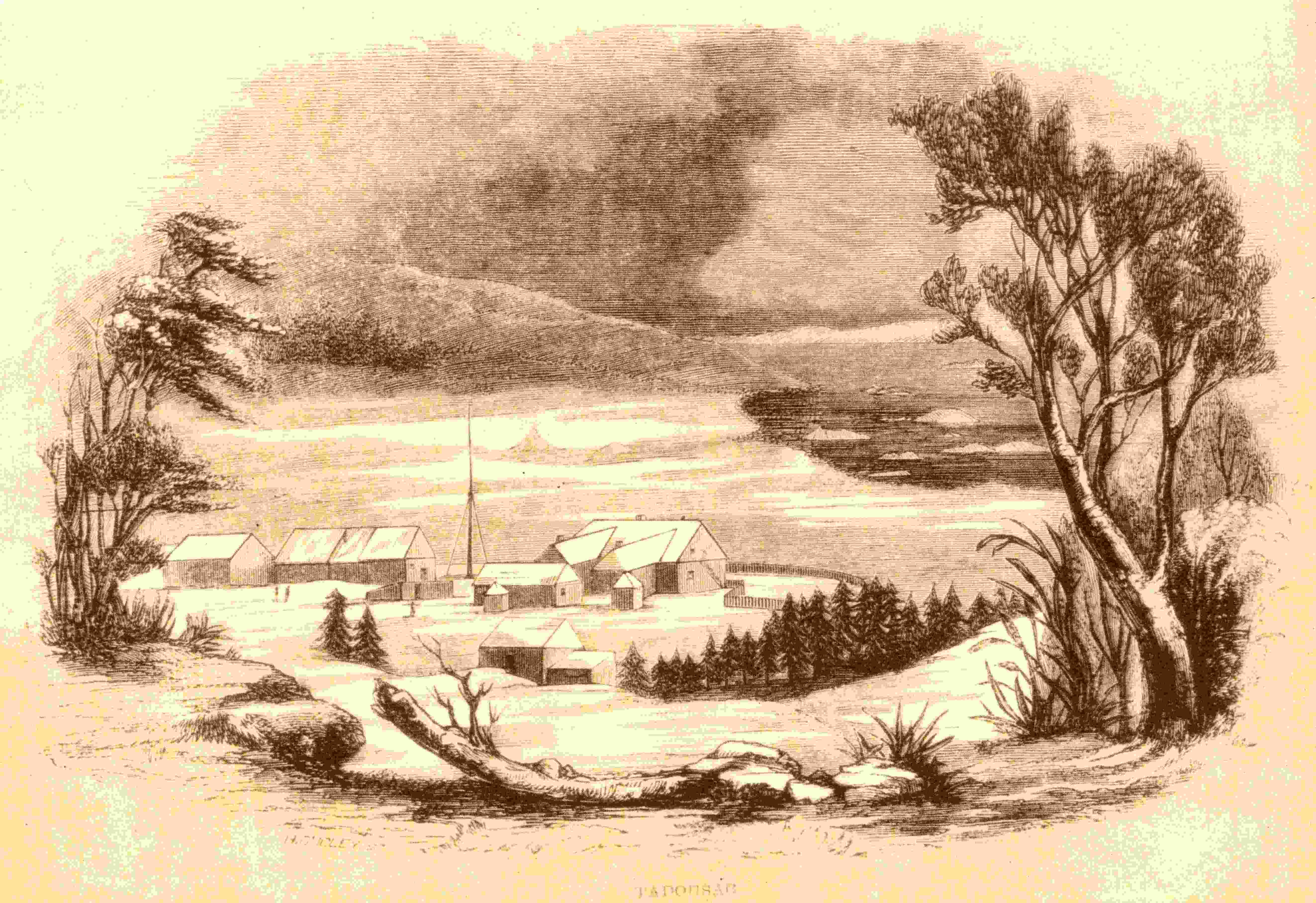 A drawing of several old buildings against mountains and near a waterway.
