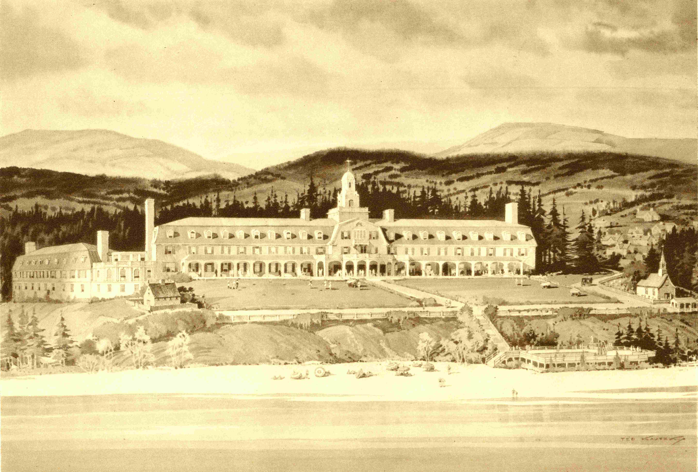 Aquarelle représentant un grand hôtel construit entre la plage et les montagnes.