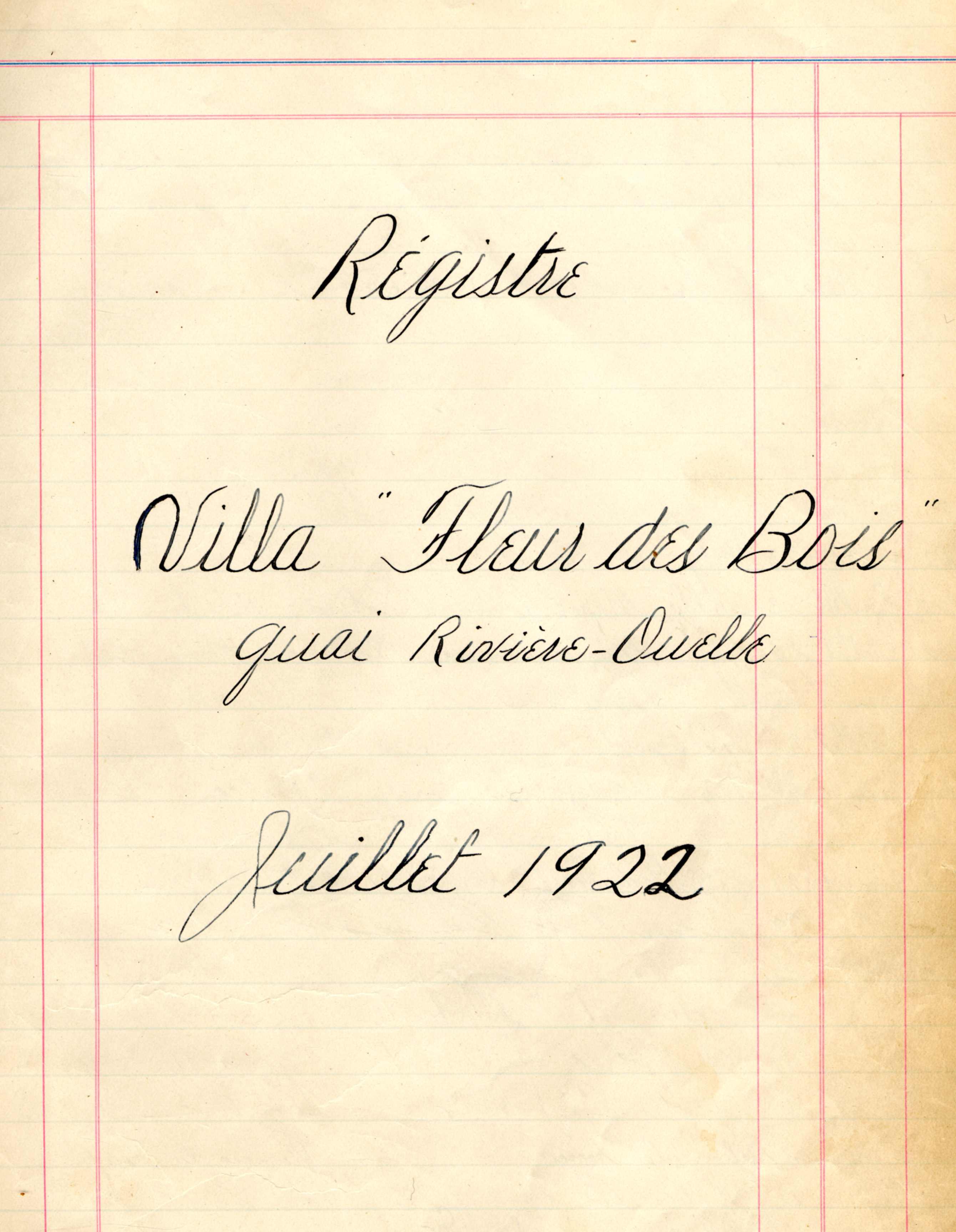 Registre écrit à la plume sur une feuille lignée jaunie par le temps.