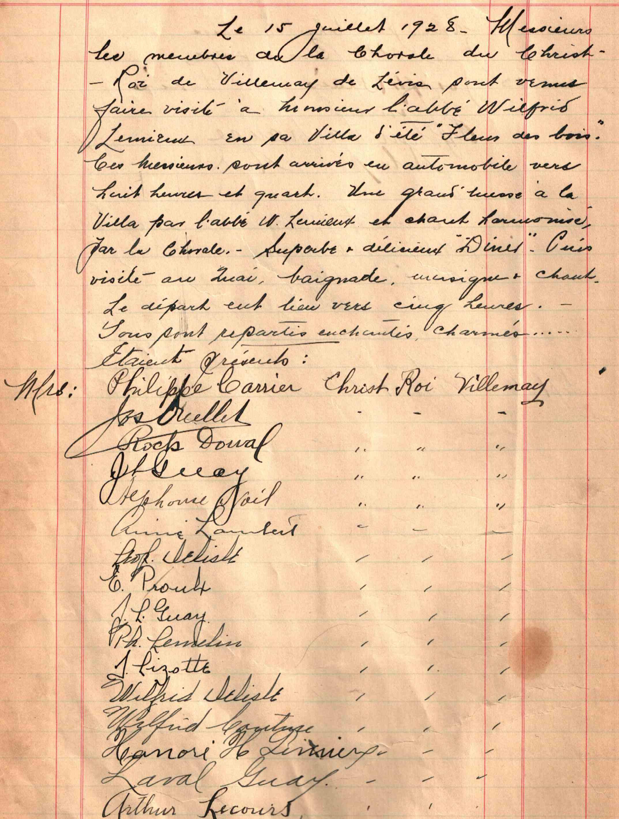 Texte rédigé à la plume sur une feuille lignée jaunie par le temps.