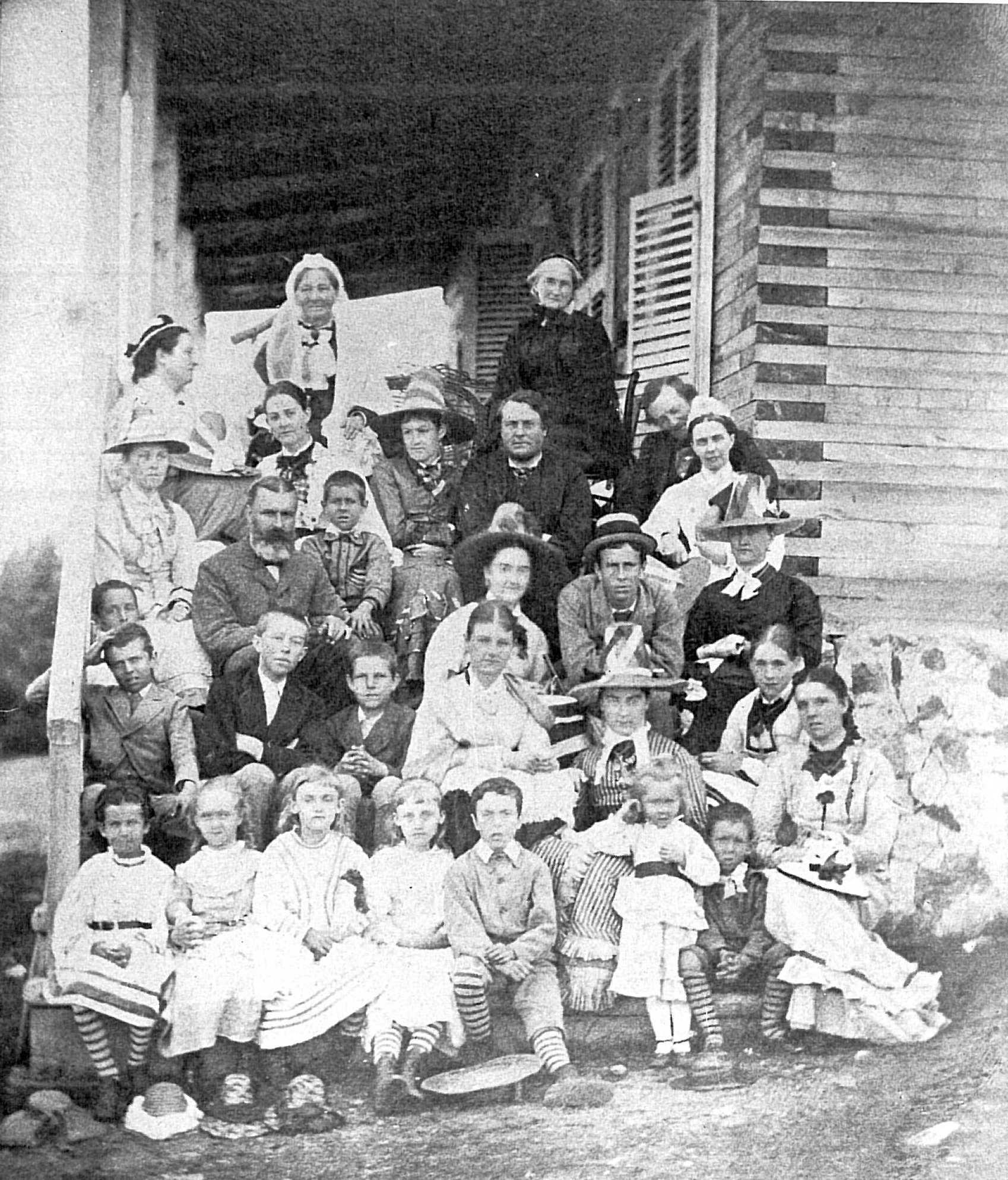 Photographie d'une grande famille dans les marches d'une galerie.