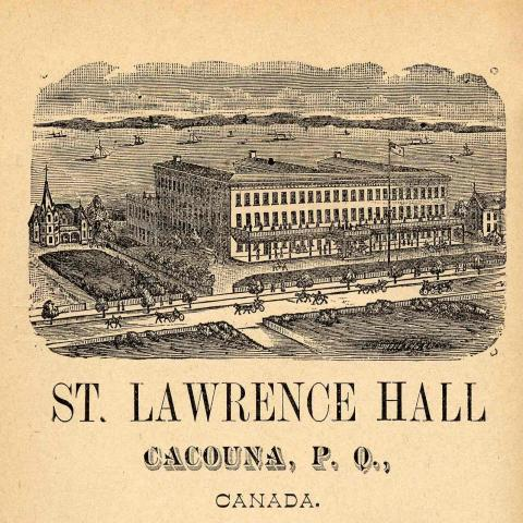 An engraving of a grand waterfront hotel with horse-drawn carriages in the foreground.