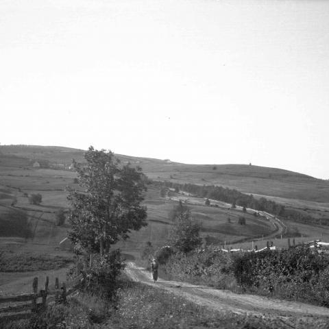 Une femme marche sur une route de terre dans un paysage rural très vallonné.