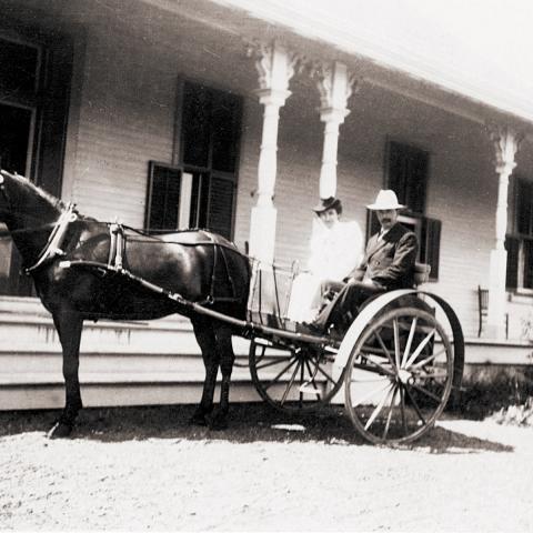 Un homme et une femme sont assis dans une voiture à deux roues tirée par un cheval, devant la galerie d'un grand bâtiment.