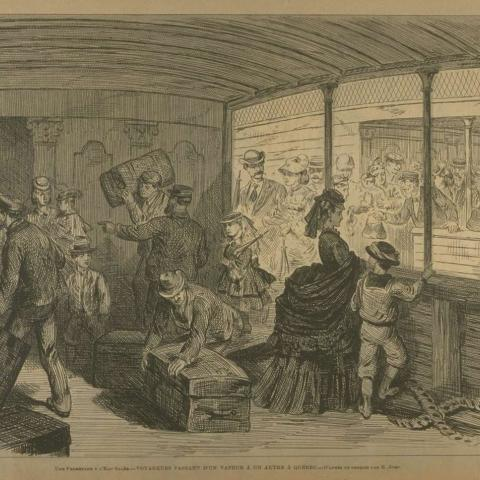 An engraving of employees busily loading suitcases a ship's deck as passengers arrive.