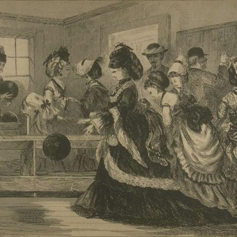 Illustration of a group of mainly women bowling.