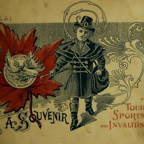 Couverture d'un album souvenir en anglais orné d'un logo où figurent un personnage vêtu de noir ainsi que la tête d'un orignal.