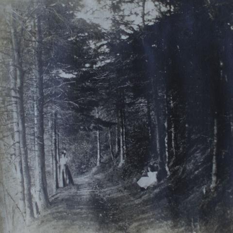 Photographie ancienne où figurent une jeune femme et une jeune fille dans un sentier, au milieu d'une forêt.