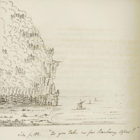 Dessin à l'encre d'une montagne qui descend abruptement dans le fleuve, où naviguent des bateaux. Au bas, une note en anglais.