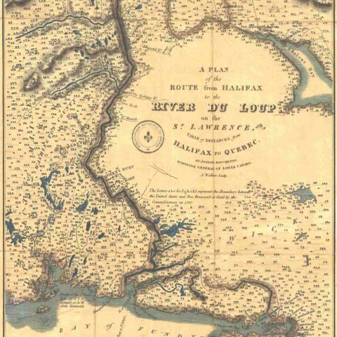 An old English map showing the area between the mouth of the St. Lawrence to the north and the Atlantic Ocean to the south.