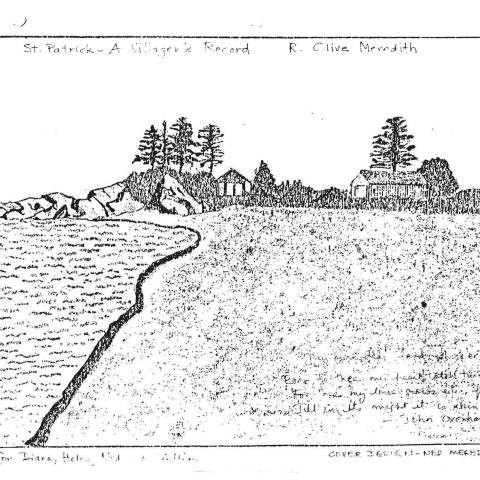 Photocopied drawing of a beach, trees and bushes, and a few buildings on the shore.