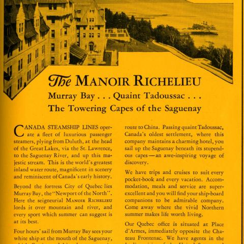 Advertising for the Manoir Richelieu hotel, showing the wharf at Pointe-au-Pic and a cruise steamer in the background.
